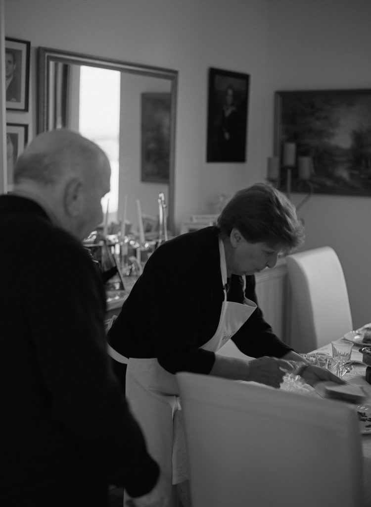 Peter Rowland Nonnas of Melbourne - Mary Calombaris and her husband setting the table for dinner