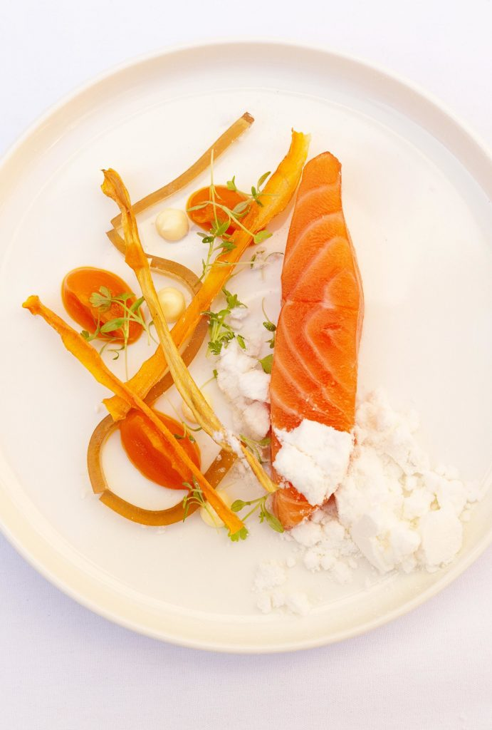 Peter Rowland Chef's Table Winter Lunch entree Carrot and cardamom salmon, salt and vinegar gel and olive oil snow
