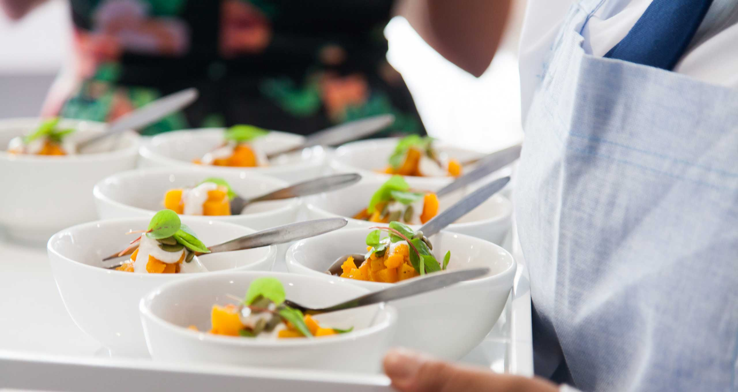 Dishes being served by Peter Rowland Catering