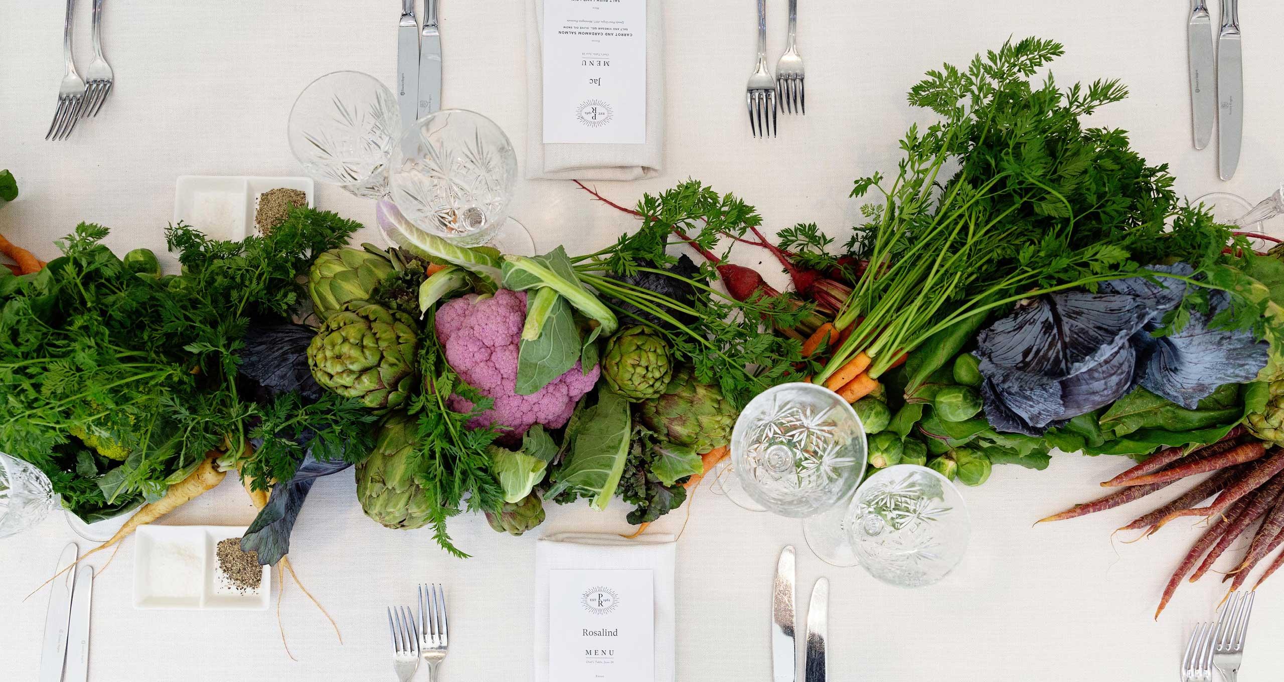 Table runner made of fresh produce