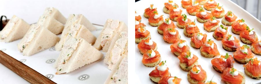 Peter Rowland Carparks Catering Canapes Chicken Sandwiches and Salmon Blinis