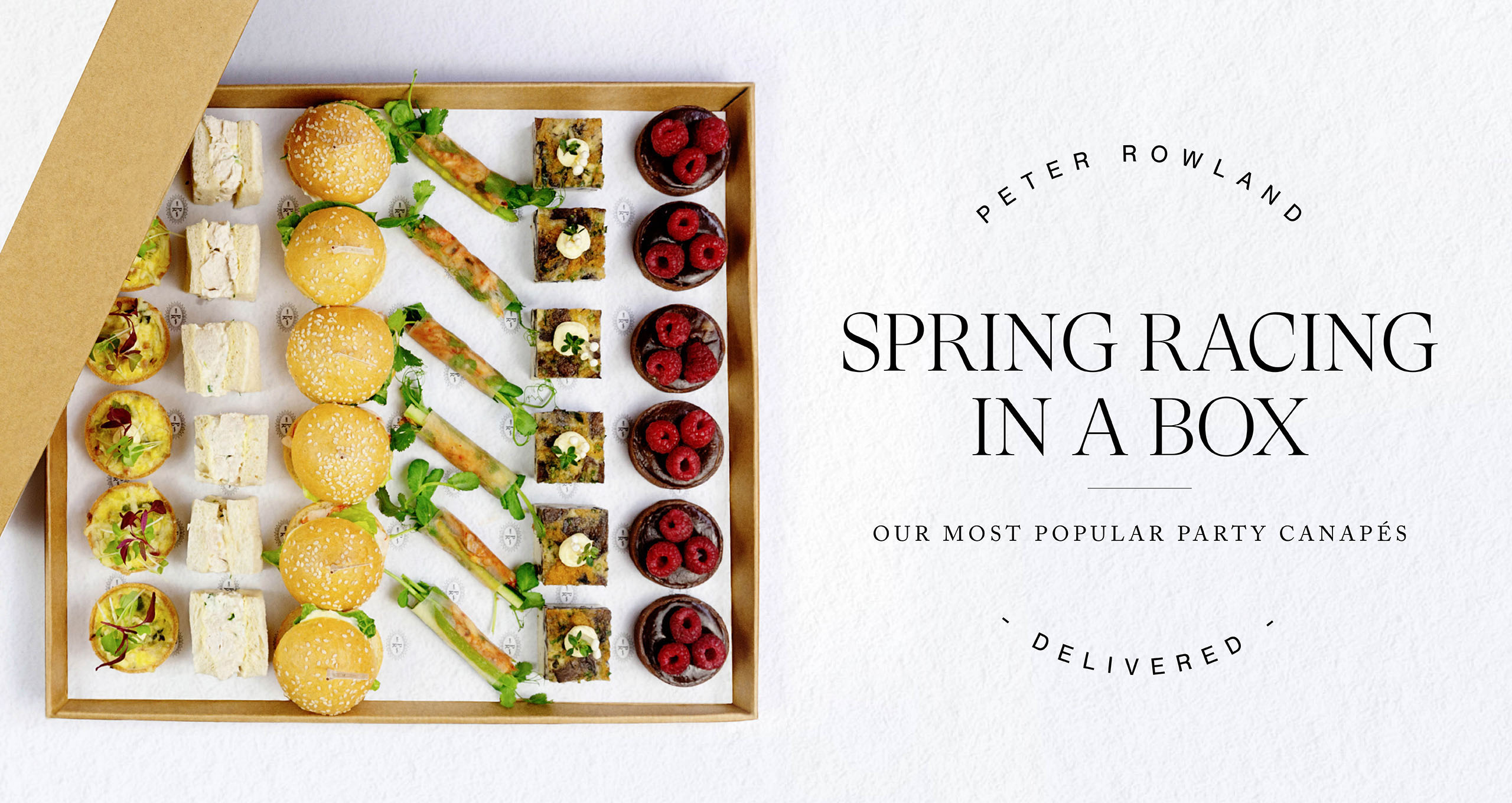 Peter Rowland Spring Racing Canapes Delivered Boxes