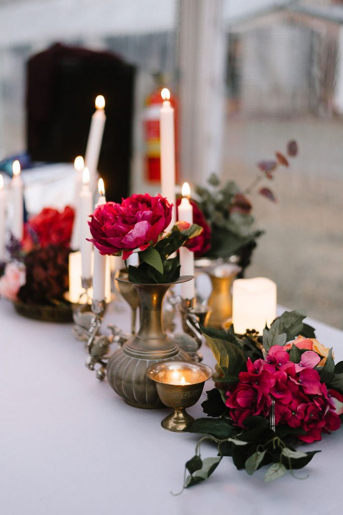 Wedding Decor with candles and flowers